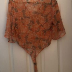 Kiera floral waist tie front a peach and grey